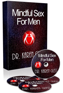 A picture of the box set and CDs of Dr. Karen Gless course Mindful Sex for Men
