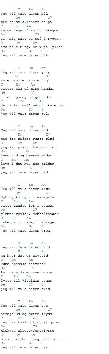 Regnvejrsdag i november pia raug akkorder til teksten jeg vil male dagen blå
