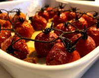 Langtidsbagte cherrytomater tomater langtidsvarmede langtidsstegte ovntørrede ovnstegte blommetomater ovnbagte