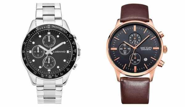billige ure fra lugano watches og megir ur test kvalitet chrono steel black megir master brown anmeldelse review