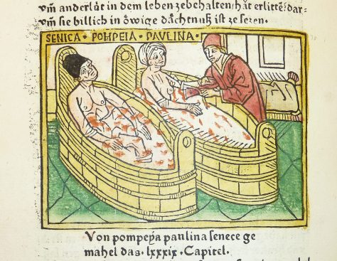 """Woodcut illustration of the suicide of Seneca and the attempted suicide of his wife Pompeia Paulina - Penn Provenance Project"" by kladcat - Woodcut illustration of the suicide of Seneca and the attempted suicide of his wife Pompeia Paulina. Licensed under Creative Commons Attribution 2.0 via Wikimedia Commons - http://commons.wikimedia.org/wiki/File:Woodcut_illustration_of_the_suicide_of_Seneca_and_the_attempted_suicide_of_his_wife_Pompeia_Paulina_-_Penn_Provenance_Project.jpg#mediaviewer/File:Woodcut_illustration_of_the_suicide_of_Seneca_and_the_attempted_suicide_of_his_wife_Pompeia_Paulina_-_Penn_Provenance_Project.jpg"