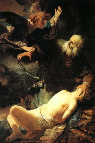Abraham offers Isaac as a sacrifice.
