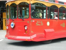 Our friendly Asheville tour trolley.