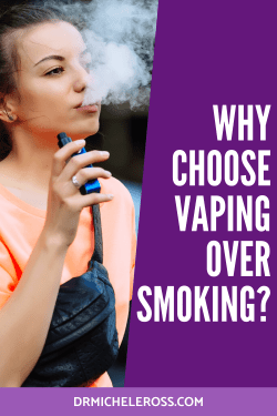 young woman in orange shirt holding blue vaporizing and blowing smoke