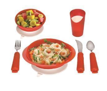 Essential Medical Supply Power of Red Complete Table Setting dementia dinner plate