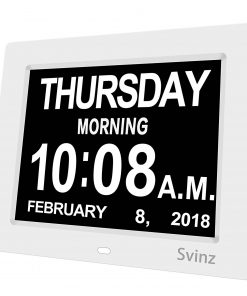 SVINZ 8 inch Digital Calendar Alarm Day Clock