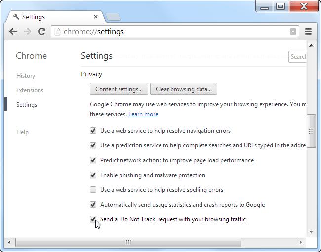 DRM Legal - secure site - chrome settings