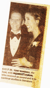 Doctored newspaper clipping of Tony Randall handing RFB&D Achievement Award to Godin
