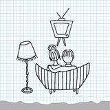 watching-tv-couple-retro-cartoon-doodle-37270703