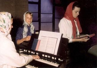 church choir; Mary Ann playing organ_Gone-zo