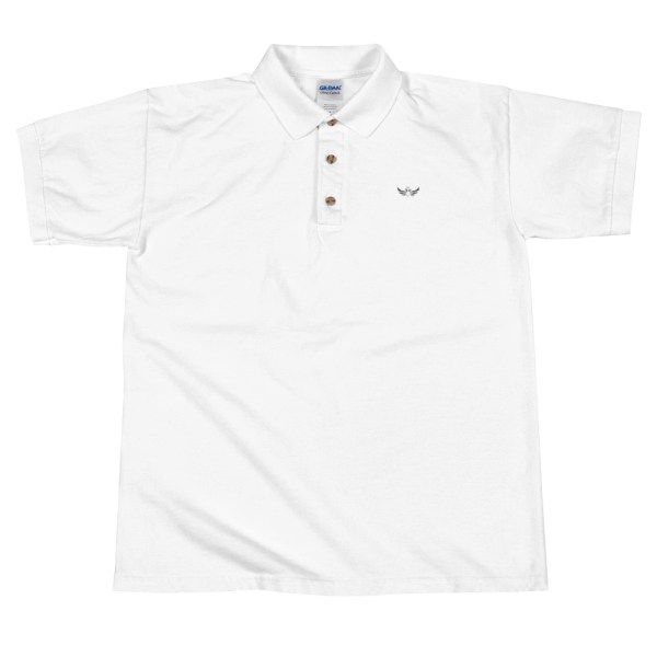 2ed8e2cd Embroidered Men's White Polo With Imperial Black Eagle – Duran Shop