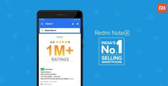redmi note 4 crosses 1 million rating on flipkart