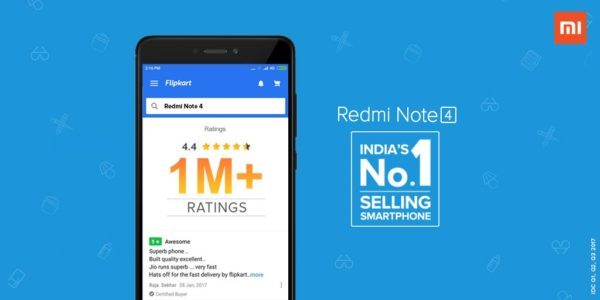 redmi note 4 crosses 1 million rating on flipkart