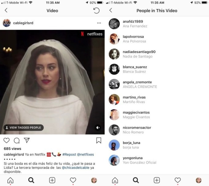 instagram video tagging feature roll out