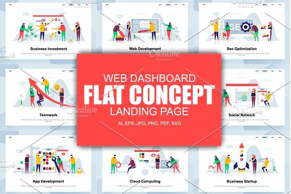 flat concept web design vector elements