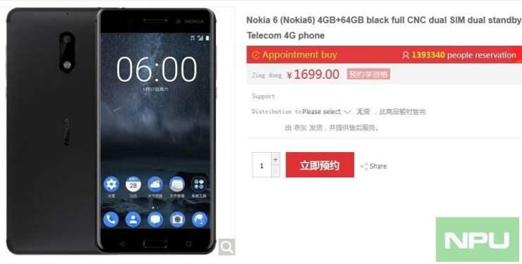 Nokia 6 1.4M Registrations already