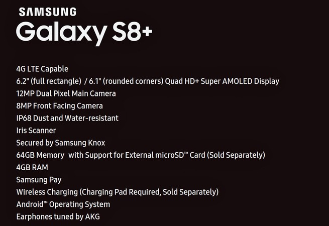 Full Specs of Galaxy S8+