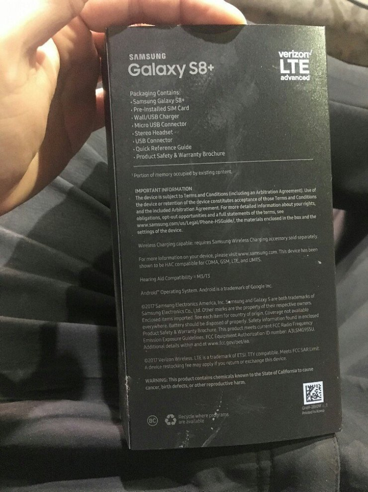 galaxy s8+ packaging box