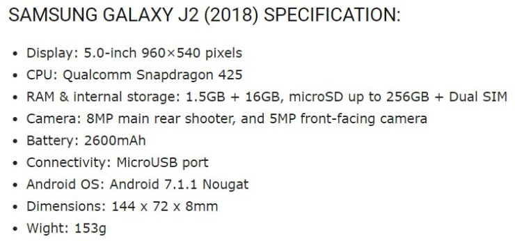 Samsung Galaxy J2 2018 Press Renders already out along with specifications 4