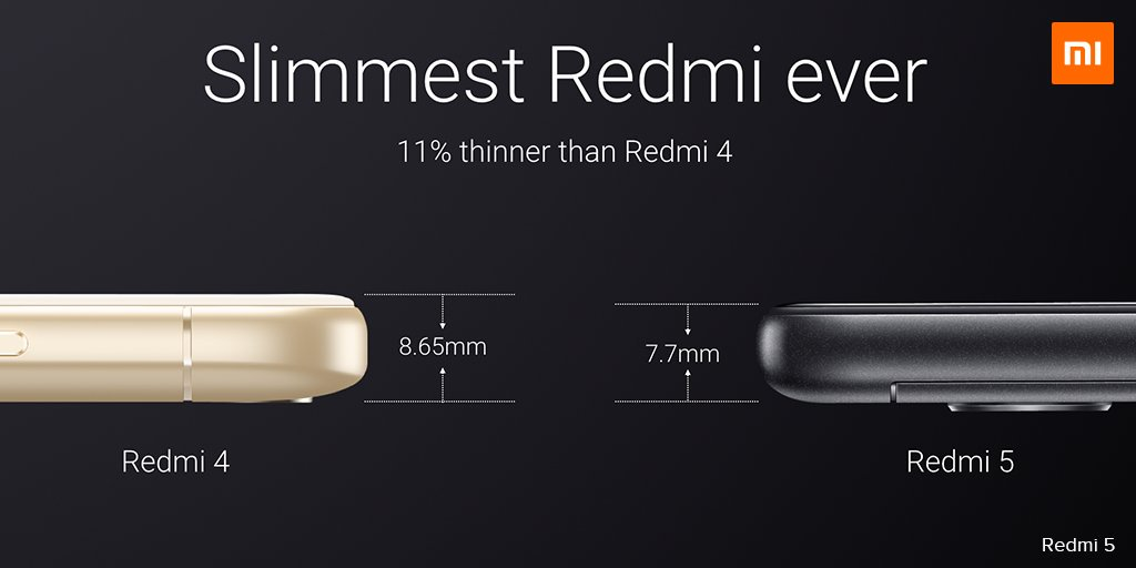 Xiaomi Redmi 5 is the slimmest Redmi ever