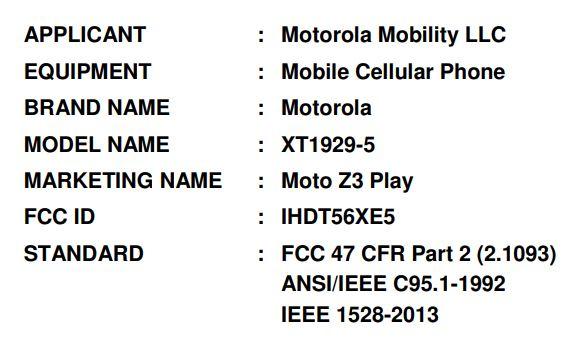 Moto Z3 Play on FCC