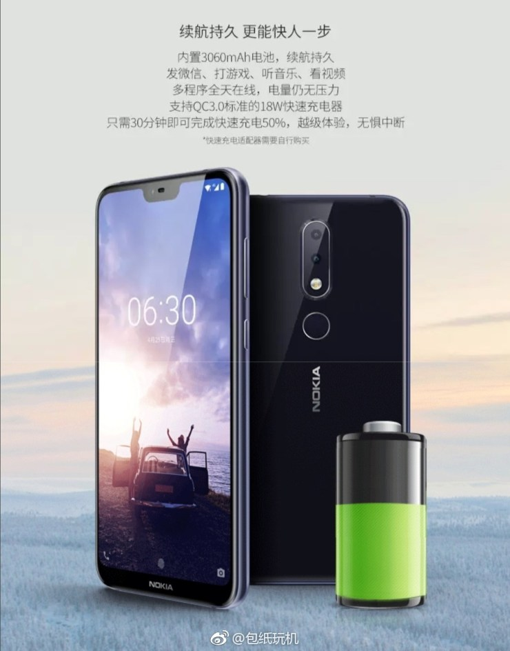 Nokia X6 has a 3,060mAh battery with Qualcomm QC 3.0