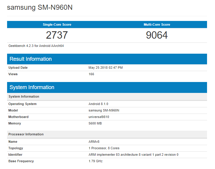 Samsung Galaxy Note 9 Geekbench Scores
