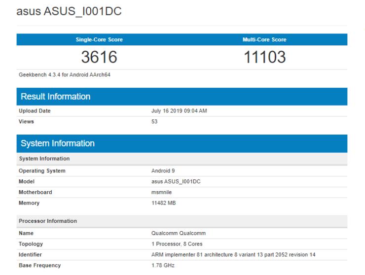 Asus ROG Phone 2 geekbench