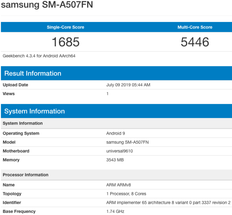 Samsung Galaxy A50s Geekbench