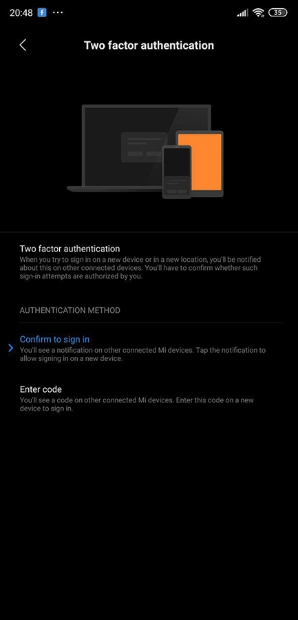 Xiaomi two-factor authentication