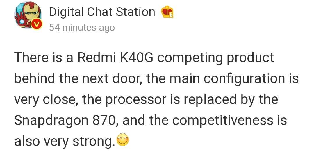 Redmi K40G Information