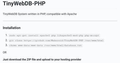 TinyWebDB php ile yazılmış alternatifi çıktı.