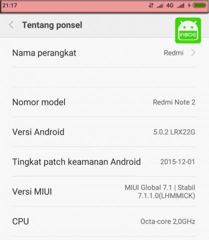 Sinyal 4G Redmi Note 2 Hilang