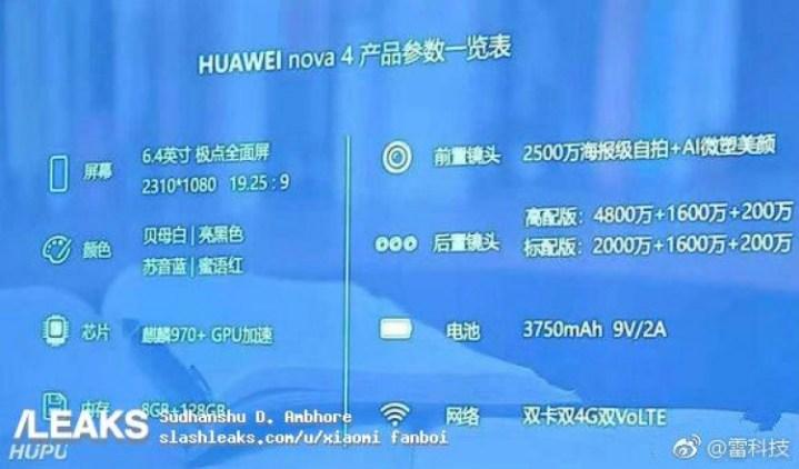 HUAWEI NOVA 4 SPECS LEAKED