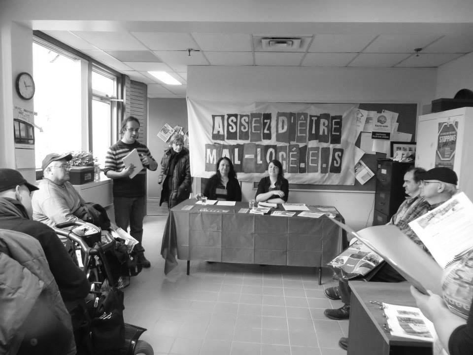 Conférence de presse du RCLALQ dans les nouveaux locaux du BAIL.  ^Photo: Bureau d'animation et d'information logement (BAIL).