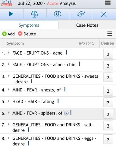 Repertorization of symptoms