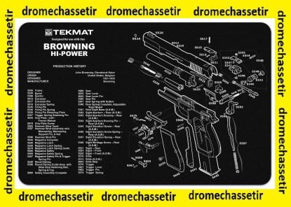 Tapis de nettoyage neoprene decor pistolet Browning Hi-Power