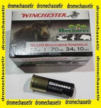 boite de 10 cartouches Winchester Brenneke Emeraude34 grs cal 12/70