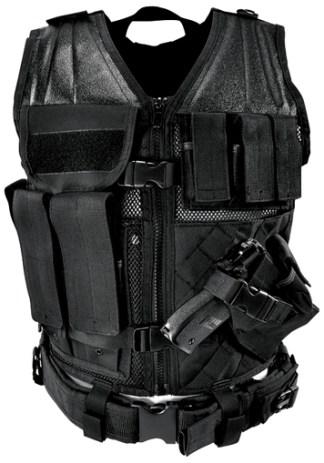 Gilet tactique medium avec holster et pochettes (noir)