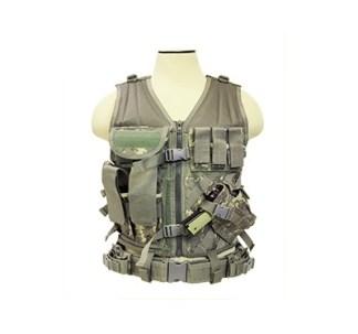 Gilet tactique Large avec holster et pochettes taille XL (camo digital americain)