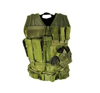 Gilet tactique Large avec holster et pochettes taille XL (vert kaki)