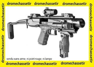 Crosse tactical FAB DEFENSE KPOS avec crosse squelette et visée