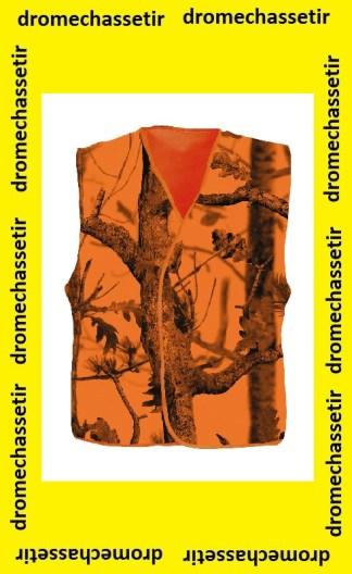 Gilet de signalisation orange fluo et camo pour la battue