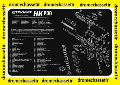 Tapis de nettoyage neoprene decor pistolet H&K P30