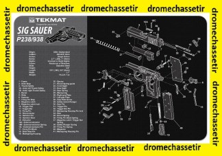 Tapis de nettoyage neoprene decor pistolet Sig Sauer P238