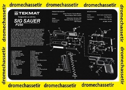 Tapis de nettoyage neoprene decor pistolet Sig Sauer P250