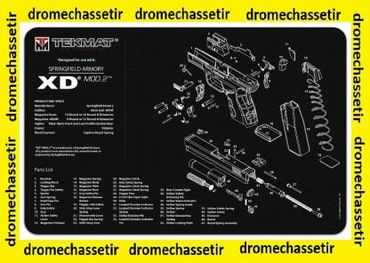 Tapis de nettoyage neoprene decor pistolet Springfield XD Mod 2