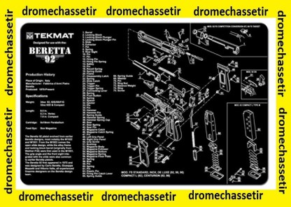 Tapis de nettoyage neoprene decor Pistolet Beretta 92