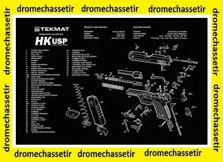 Tapis de nettoyage neoprene decor pistolet HK USP