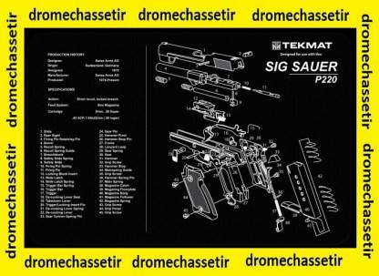 Tapis de nettoyage neoprene decor pistolet Sig Sauer P220